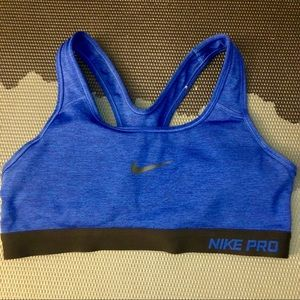 Nike Pro Victory Sports Bra Heather Blue Black S